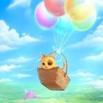 Аватар Котенок летит в корзинке на воздушных шариках
