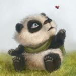 Аватар Детеныш панды сидит на траве и наблюдает за бабочкой