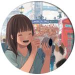 Аватар Девушка с фотоаппаратом и кошка на улице Лондона