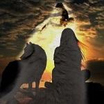 Аватар Девушка с волком на фоне образа волка