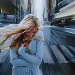 Аватар Девушка стоит на фоне города, художник Чернигин Александр