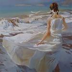 Аватар Девушка в белом платье у моря, художник Чернигин Александр