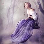 Аватар Девушка сидит на качеле в туманном лесу
