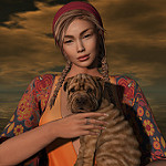 Аватар Девушка держит собаку на руках