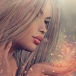 Аватар С руки девушки с длинными волосами слетает цветная пыль