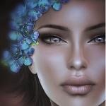 Аватар Девушка с голубыми цветами в волосах