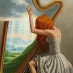 Аватар Девушка играет на арфе, на которой изображена природа