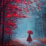 Аватар Девушка с красным зонтом стоит на дороге