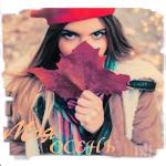 Аватар Девушка в красной шапке прикрывает лицо большим кленовым листом (Моя осень)