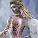 Аватар Девушка-ангел с татуировками на спине и руке в профиль