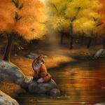 Аватар Лиса сидит на камне у реки, на фоне осеннего леса, исходник by Nimrais