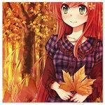 Аватар Девушка держит кленовый листок