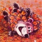 Аватар Милый ежик в осенних листьях