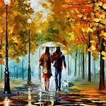 Аватар Парочка под зонтом идет по осенней аллее с собакой