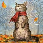 Аватар Кот в красном шарфике стоит на задних лапках среди осенних листьев