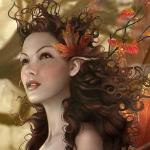 Аватар Девушка - эльф с осенними листьями в волосах