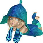 Аватар Девочка с голубыми глазами в шапочке в виде цветка в одежде из листьев