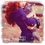 Аватар Рыжеволосая девушка с котом на руках на фоне осеннего пейзажа