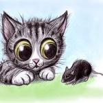 Аватар Котенок смотрит на мышь