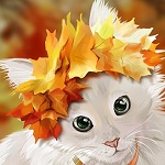 Аватар Белая кошечка с осенними листьями на голове
