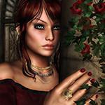 Аватар Шатенка на фоне цветов