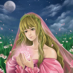 Аватар Девушка-шатенка с длинными волосами в розовой одежде держит в руках розовую розу