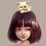 Аватар Девочка с белым котенком на голове, by Ilse Harting