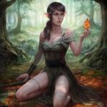 Аватар Эльфийка сидит в лесу с сухим листиком в руке