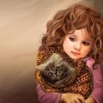 Аватар Девочка держит котенка