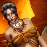 Аватар Девушка с темными волосами, собранными в прическу с голубыми глазами