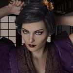 Аватар Девушка с сиреневой одежде с голубыми глазами