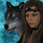 Аватар Шатенка с длинными волосами, голубыми глазами с тиарой на лбу рядом с волком