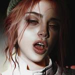 Аватар Рисунок рыжеволосой девушки с пирсингом языка, by Elena Sai