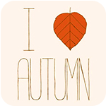 Аватар Фраза на светлом фоне I love autumn / Я люблю осень, где вместо сердечка нарисован осенний лист