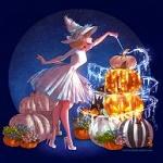 Аватар Золушка с волшебной палочкой стоит у тыквы, by ArtCrawl