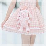 Аватар Девушка в розовом платье с сумкой-кроликом