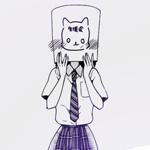 Аватар Девушка в школьной форме с бумажным пакетом, на котором нарисована кошка, на голове