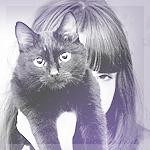 Аватар Девушка и черная кошка