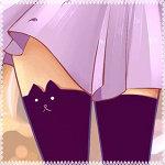 Аватар Ножки девушки в чулках с изображением мордочки котенка