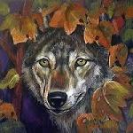 Аватар Морда волка в осенней листве