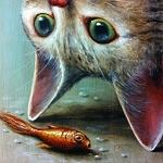 Аватар Кот вверх ногами смотрит на рыбку