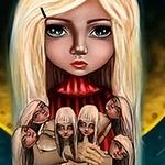 Аватар Девочка с куклами, в виде ее образов, на фоне огромной желтой луны, иллюстратор Настя Корень