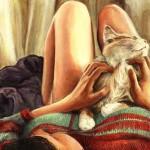 Аватар Серий кот лежит на девушке