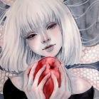Аватар Портрет белокурой девушки, которая держит красное яблоко в руках
