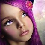 Аватар Девушка со слезой на лице и цветком в волсах