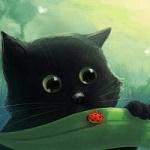 Аватар Черный котенок смотрит на божью коровку, by Ansheen