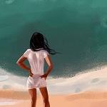Аватар Девушка стоит на фоне моря