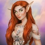 Аватар Рыжеволосая эльфийка в белом платье / арт на игру World of Warcraft, by JuneJenssen