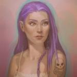 Аватар Девушка с розовыми волосами и татуировкой черепа на плече, by JuneJenssen