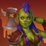 Аватар Девушка - орк с фиолетовыми волосами и топором / арт на игру World of Warcraft, by JuneJenssen